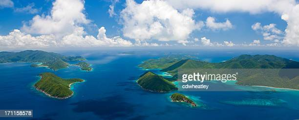 aerial panorama of US and British Virgin Islands
