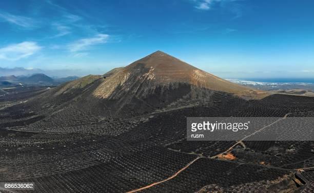 Aerial panorama of Wine valley of La Geria, Lanzarote, Canary islands.