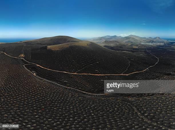 Aerial panorama of Wine valley of La Geria, Lanzarote, Canary islands