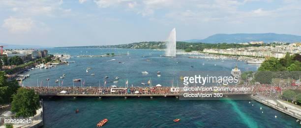 Aerial Panoramic View of Lake Parade in Geneva