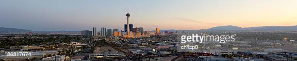 Aerial Panoramic View of Las Vegas at Sunset