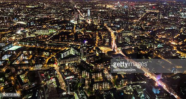 Aerial Panoramic view of London illuminated at night