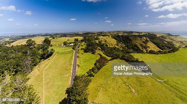 Aerial Panoramic view of Manukau Head looking towards Waitakere Ranges.