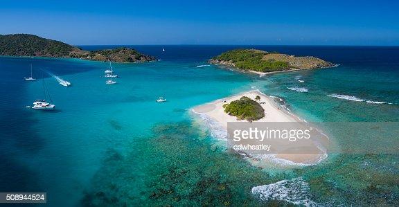 Aerial panoramic view of Sandy Spit, British Virgin Islands