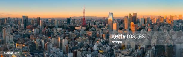 空からのパノラマに広がる東京の景色の日の出(XXXL