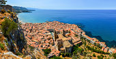 Aerial panoramic view of village Cefalu and ocean in Sicily, Italy