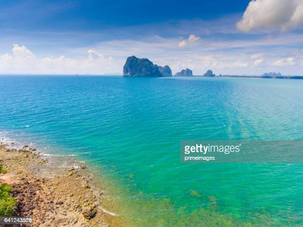 Aerial panoramic view  pakmeng beach of thailand near krabi