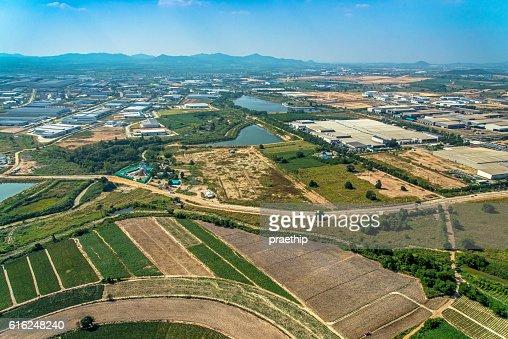 Foto aérea de agricultura e desenvolvimento de terras agrícolas : Foto de stock