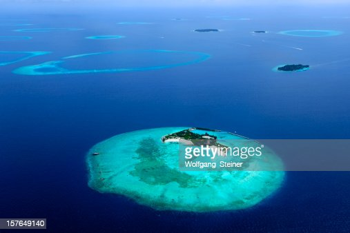 Aerial photo from an island of the maldives