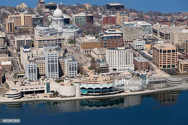 Aerial photo of downtown Madison in spring