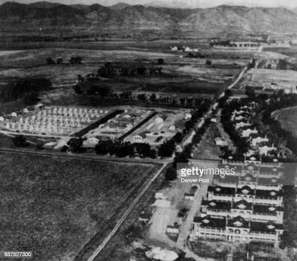 Aerial photo of Fort Logan Colo taken about 1938 shows tent city which was Citizens Military Training Corps encampment Courtesy The Denver Post...