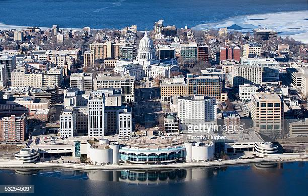 Aerial photo of Madison in the winter