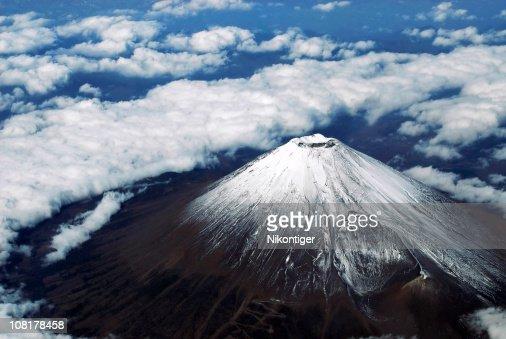 Aerial photo of mount fuji
