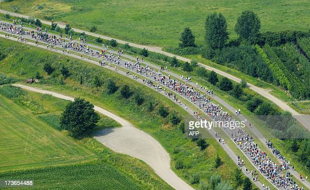 Aerial photo of participants walking near Elst on July 16 2012 during the first day of the International Four Day Marches Nijmegen Participants from...