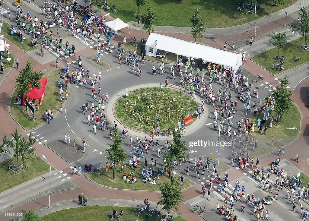Aerial photo of participants walking near Oosterhout on July 16 2012 during the first day of the International Four Day Marches Nijmegen Participants...