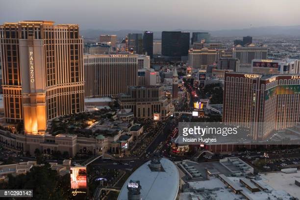 Aerial photo of The Las Vegas Strip looking South, sunset