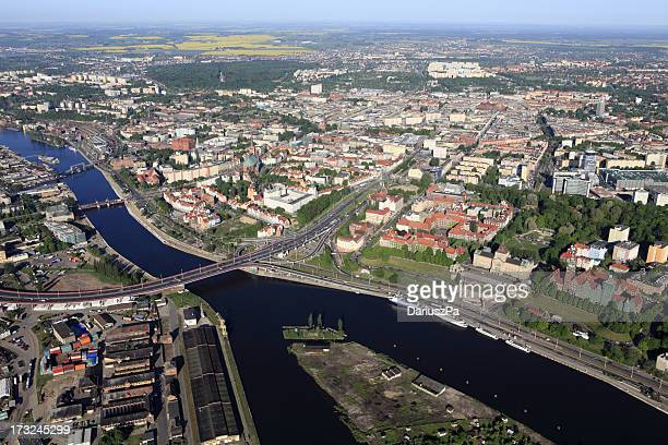 Aerial photo of the Szczecin city
