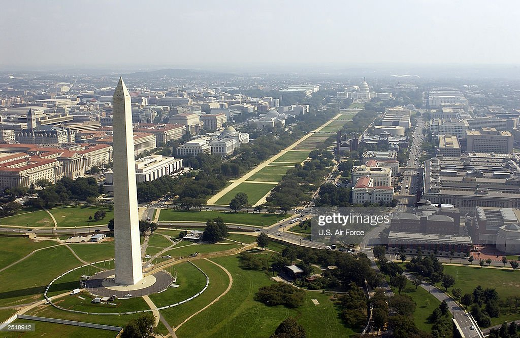 Aerial photo of the Washington Memorial with the Capitol in the background in Washington DC on September 26 2003