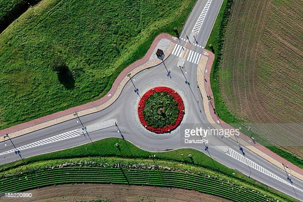 Aerial photo of Traffic Circle in Gniewino