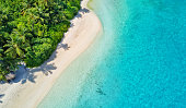 Aerial photo of beautiful paradise Maldives tropical beach on island. Summer and travel vacation concept.