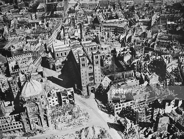 Aerial photo of Wurzburg famous German university town shows the damage caused by Allied bombings