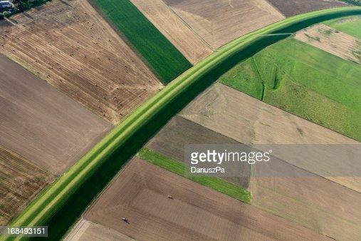 Aerial photo Vistula flood embankment
