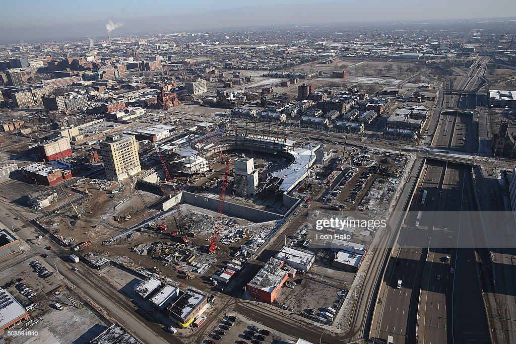 Aerial photograph during the construction phase of the new $627 million home of The Detroit Red Wings scheduled to be open for the start of the 2017 season on February 7, 2016 Detroit, Michigan.