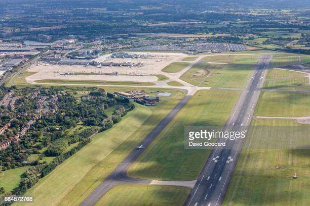 Aerial photograph of Birmingham Airport formerly known as Elmdon Airport on September 26 2010 Located between Sheldon and the National Exhibition...