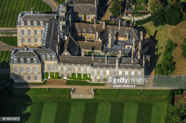 KINGDOM JUNE 30 Aerial photograph of Boughton House official residence of the Duke of Buccleuch on June 30 2010 This French style country house dates...