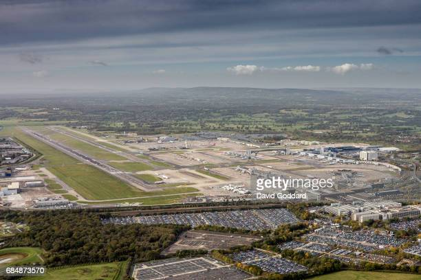 SUSSEX ENGLAND AUGUST 28 Aerial photograph of Britain's second busiest airfield Gatwick Airport Located to the southwest of Horley 2 miles north of...