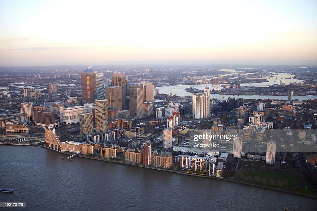 Aerial photograph of Canary Wharf at dusk : Stock Photo
