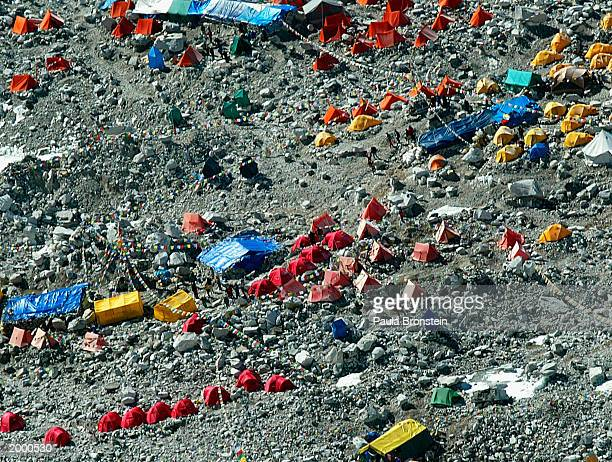 Aerial photograph of Everest Base camp a large tent city full of climbers at 18000 ft which sits at the foot of Mount Everest May 15 2003 on the...