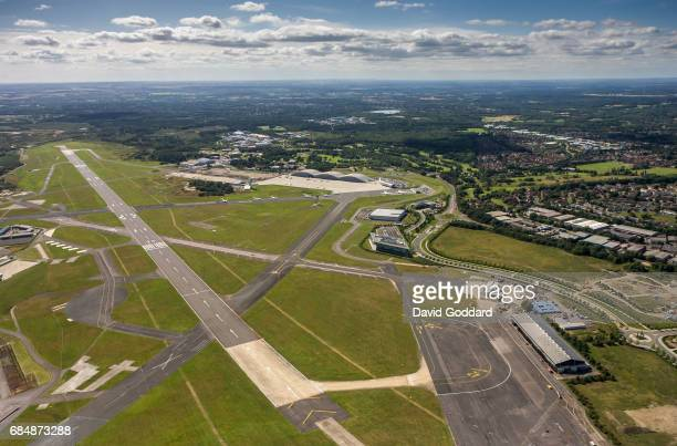 ENGLAND JUNE 31 Aerial photograph of Farnborough Airport formerly known as the Royal Aircraft Establishment This former Ministry of Defence Airfield...