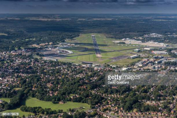 ENGLAND JUNE 31 2015 Aerial photograph of Farnborough Airport formerly known as the Royal Aircraft Establishment This former Ministry of Defence...