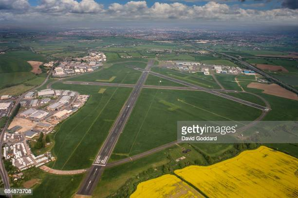 GLOUCESTERSHIRE ENGLAND APRIL 07 Aerial photograph of Gloucester Airport Located between Cheltenham and Gloucester next to junction 11 of the M5...