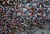 Aerial photograph of tourists visiting the Old Town Square in Prague