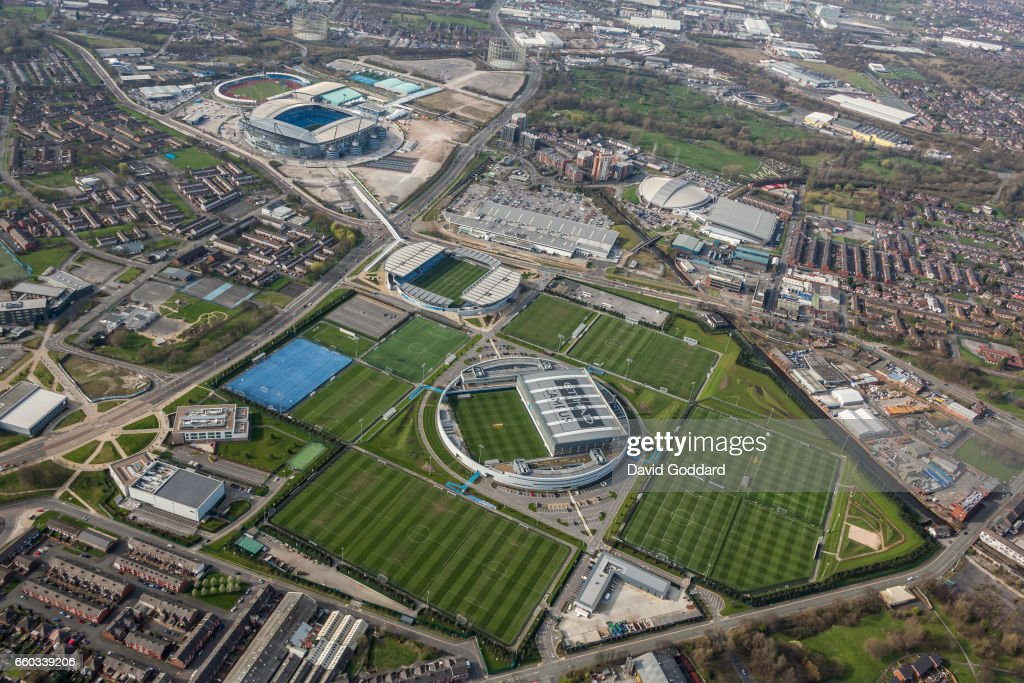 MANCHESTER, ENGLAND, MARCH 26. Aerial photograph of the Etihad Campus, training ground to Manchester city football club and home to Manchester city football academy on March 26, 2017. Set among 200 acres this major sport, leisure, health, education and community development is located 1 mile East of the city centre, on the southern bank off the Ashton Canal. (Photograph by David Goddard/Getty Images).