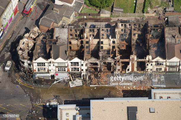 Aerial photograph of the London Road devastation just north of Croydon town centre on the 9th August 2011 in London England Widespread looting arson...