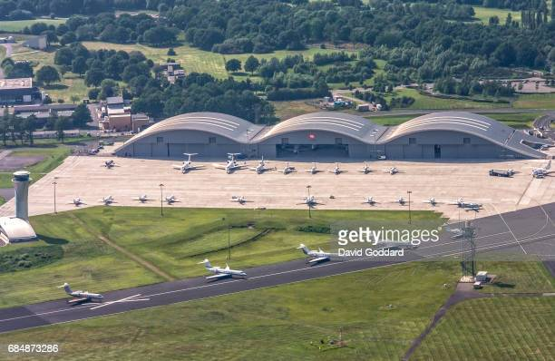 ENGLAND JUNE 31 Aerial photograph of the Norman Foster Hangars at Farnborough Airport formerly known as the Royal Aircraft Establishment This former...