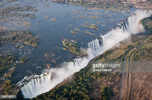 Aerial photograph of Victoria falls at sunset