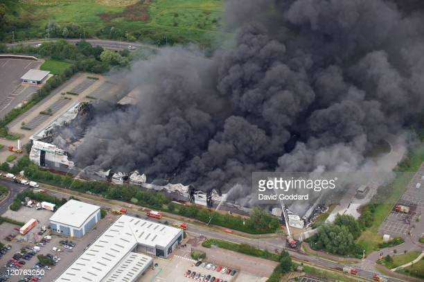 Aerial photograph taken north east of the centre of London where the Sony distribution centre in Enfield is engulfed in fire on the 9th August 2011...