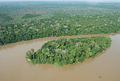 Bayanga Central African Republic March 13 Aerial photography of Rainforest and Sangha river in Dzanga National Park at triangle of Democratic...
