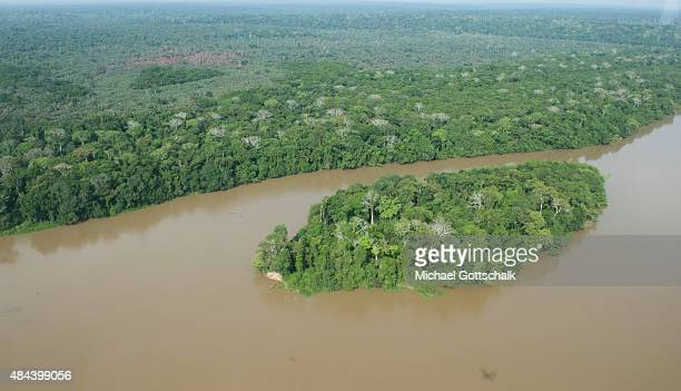 Bayanga Central African Republic March 13 Aerial photography of Rainforest and SanghaRiver in Dzanga National Park at triangle of Democratic Republic...