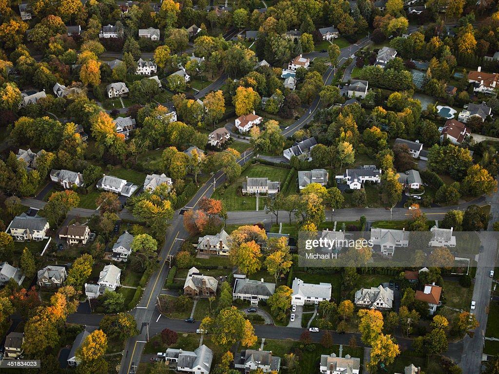 Aerial photography of suburbs, NY : Stock Photo