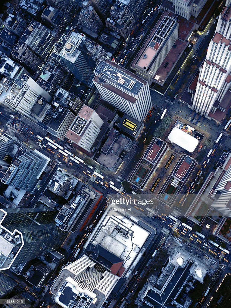 Aerial photography of the Rockefeller Center , NY