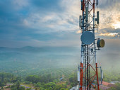 Aerial view of telecommunication tower with sunrise background.
