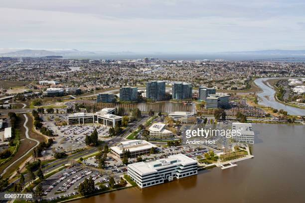 Aerial photography view north of Oracle Headquarters in Redwood Shores, San Francisco Bay Area. California, United States.