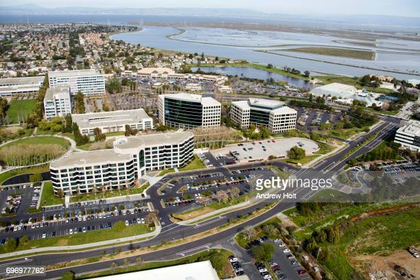 Aerial photography view north-east of Redwood Shores in the San Francisco Bay Area. California, United States.
