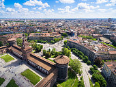 Aerial photography view of Sforza castello castle in  Milan city in ItalyAerial photography view of Sforza castello castle in  Milan city in ItalyAerial photography view of Sforza castello castle in