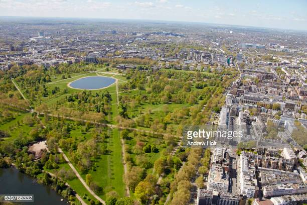 Aerial photography view of west Bayswater Road and Round Pond, Hyde Park.
